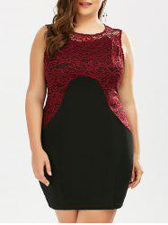Plus Size Color Block Lace Panel Sheath Dress