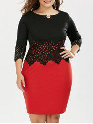 Plus Size Mini Slip Dress and Cutout Scalloped Top
