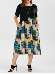 Plus Size Painted Print A Line Midi Dress