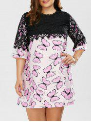Plus Size Lace Trim Butterfly Print Dress