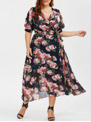 Plus Size Maxi Floral Wrap Dress - COLORMIX