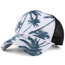 Mesh Spliced Coconut Palm Printing Baseball Hat - CADETBLUE