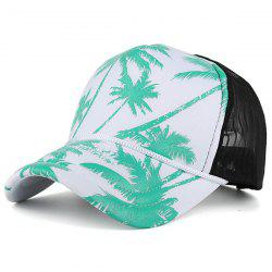 Mesh Spliced Coconut Palm Printing Baseball Hat - BLUE GREEN