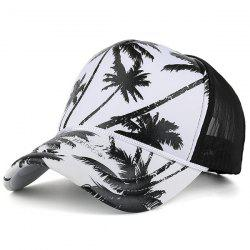 Mesh Spliced Coconut Palm Printing Baseball Hat - BLACK