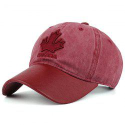 Letters Maple Leaf Embroidery Baseball Cap - RED