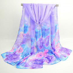 Watercolour Multicolor Floral Printing Shawl Scarf - PURPLE