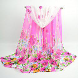 Flowers Blooming Fancy Chiffon Shawl Scarf