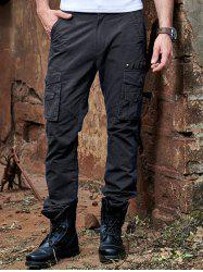 Zipper Fly Metal Button Embellished Cargo Pants