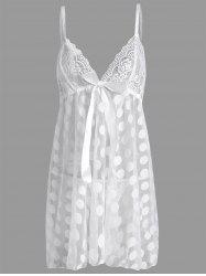 Sheer Plus Size Polka Dot Badydoll Slip Dress - WHITE