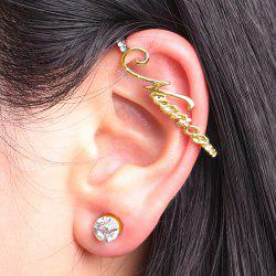Rhinestoned Letters Ear Cuff and Stud Earring