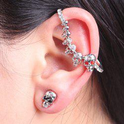 Rhinestone Skulls Ear Cuff with Stud Earring -