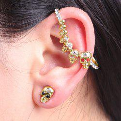 Rhinestone Skulls Ear Cuff with Stud Earring