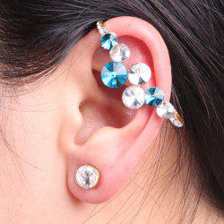 Rhinestoned Circle Ear Cuff and Stud Earring