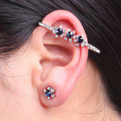 Rhinestone Floral Ear Cuff with Stud Earring