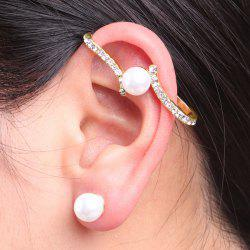 Faux Pearl Rhinestone Ear Cuff with Stud Earring