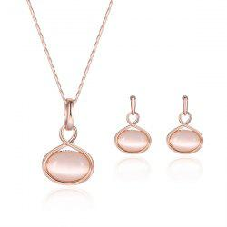 Artificial Opal Oval Pendant Jewelry Set