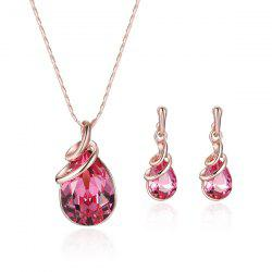 Rhinestone Faux Gemstone Teardrop Pendant Jewelry Set - ROSE GOLD