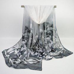 Hand Painted Peony Blossom Printed Chiffon Scarf
