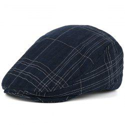Nostalgic Plaid Striped Trucker Hat - CADETBLUE
