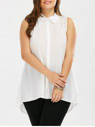 Plus Size Lace Hollow Out  Chiffon Sleeveless Shirt
