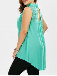 Plus Size Lace Hollow Out  Chiffon Sleeveless Shirt - LAKE GREEN