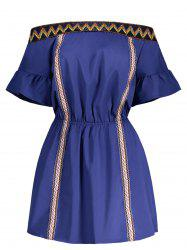 Off The Shoulder Zig Zag Embroidered Dress