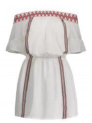 Off The Shoulder Zig Zag Embroidered Dress - WHITE