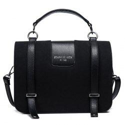 Suede Twin Straps Flap Tote Bag - BLACK