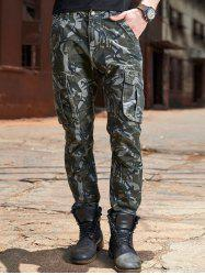 Camouflage Zipper Fly Drawstring Design Cargo Pants