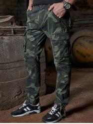 Camo Drawstring Design Multi Pockets Cargo Pants