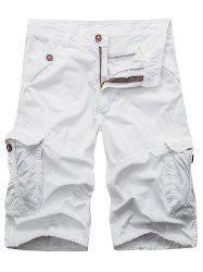 Zip Fly Cargo Shorts with Flap Pockets - WHITE