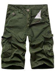 Zip Fly Cargo Shorts with Flap Pockets - ARMY GREEN