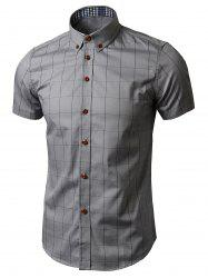 Button Down Short Sleeve Grid Plaid Shirt