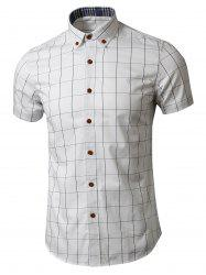 Button Down Short Sleeve Grid Shirt