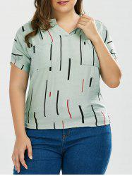 Plus Size Pattern Notched Top With Double Pockets