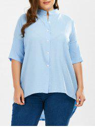 Long High Low Button Up Plus Size Shirt