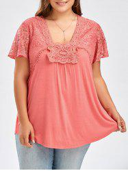Plus Size Lace Panel Curved Hem T-Shirt -
