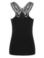 Cutwork Lace Trim Butterfly Pattern Tank Top - BLACK