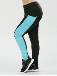 Plus Size Two Tone Sporty Leggings with Pocket