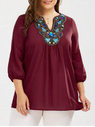 Plus Size Embroidered Rhinestone Tunic Blouse
