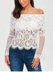 Flare Sleeve Mesh Panel Lace Blouse -