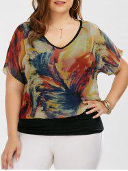 V Neck Tie Dye Plus Size Ringer Blouse