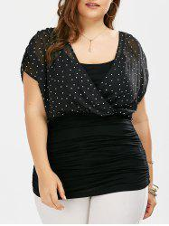 Plus Size Polka Dot Ruched Surplice Top