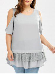 Plus Size Lace Trim Cold Shoulder Blouse