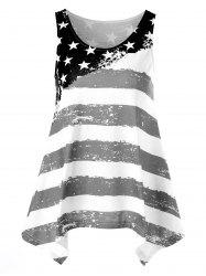 Distressed American Flag Asymmetrical Tank Top -