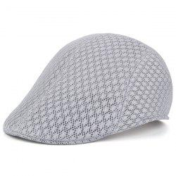 Summer Hollow Out Mesh Newsboy Hat - LIGHT GRAY
