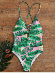 Palm Print Backless Plunge One Piece Swimwear