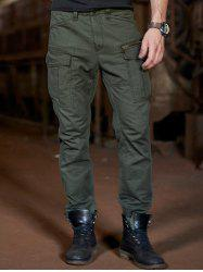 Cuffed Zipper Pockets Design Cargo Pants - ARMY GREEN
