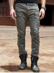 Cuffed Zipper Pockets Design Cargo Pants