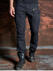 Cuffed Zipper Pockets Design Cargo Pants - Bleu Foncé